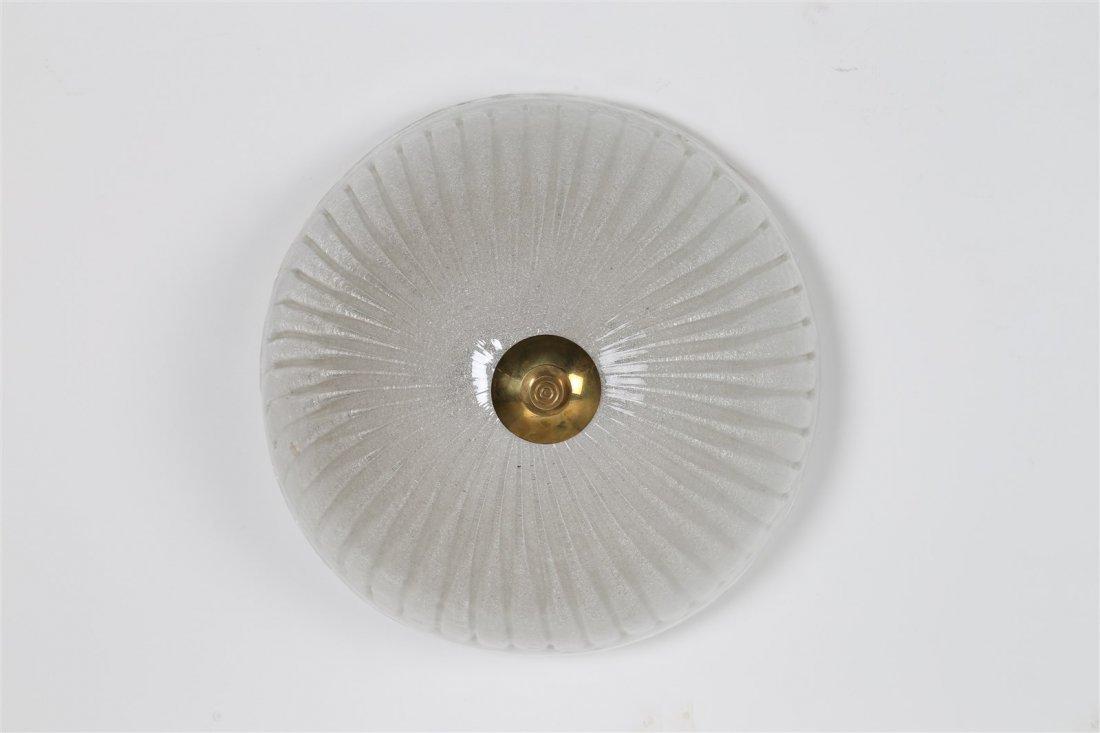 MANIFATTURA ITALIANA Plafoniera in vetro pulegoso.