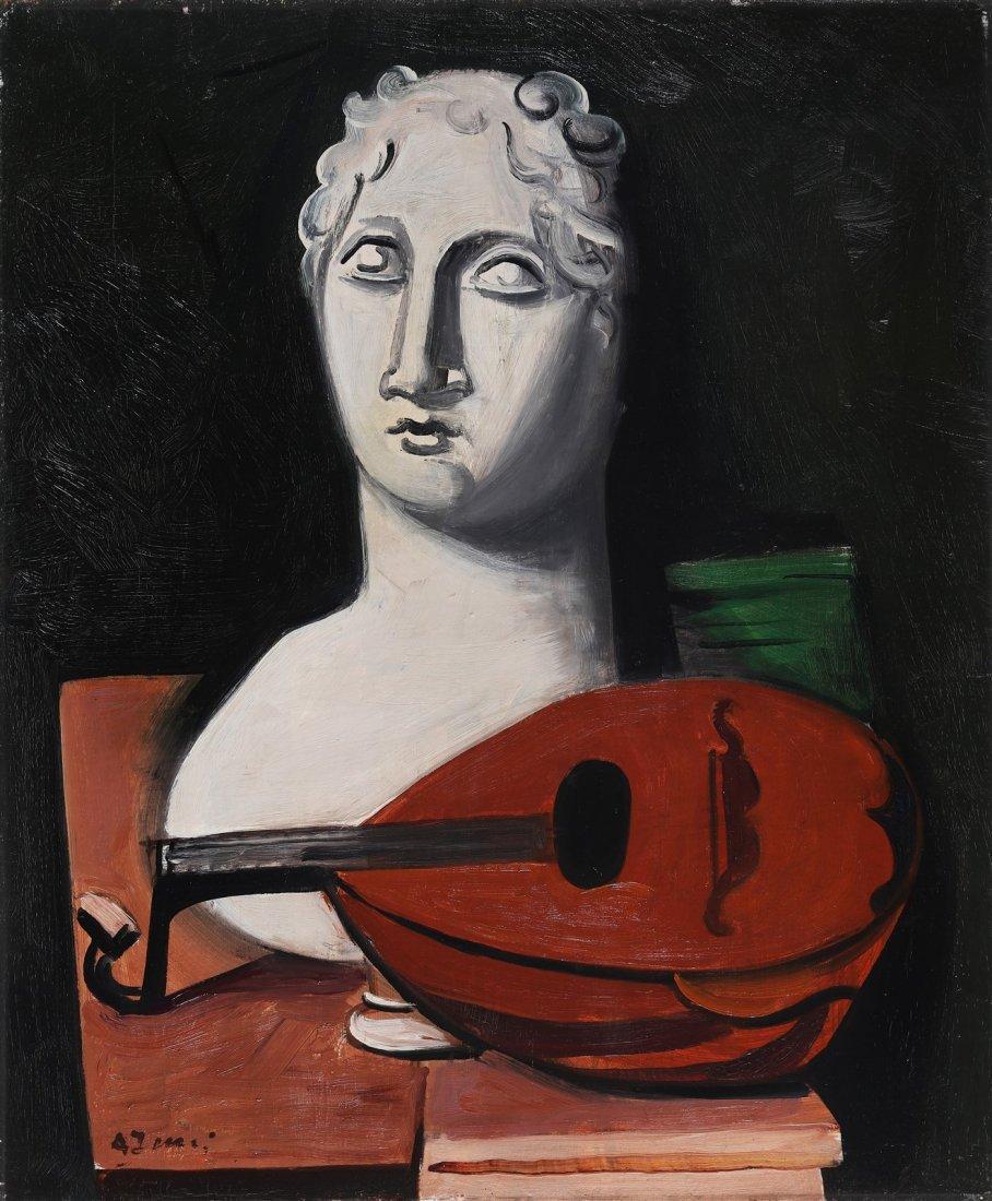 ACHILLE FUNI Statue with mandoline.