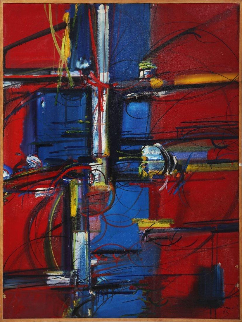 ZLATKO PRICA Blue trunk on a red background.