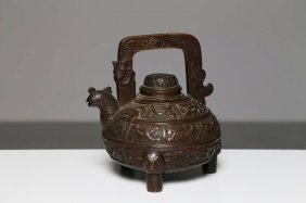 Arte Cinese A Bronze Teapot In The Shape Of An Animal