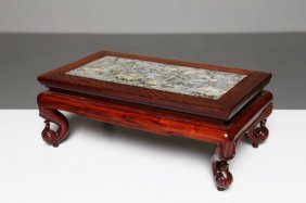 Arte Cinese A Chinese Wooden And Granite Small Table