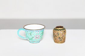Arte Cinese A Porcelain Cup And A Cloisonné Meiping