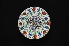 Arte Islamica Iznik Dish With Flower Patternturkey,