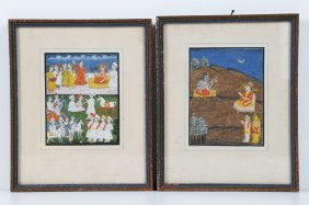 Arte Indiana Two Indian Miniatures, One Depicting