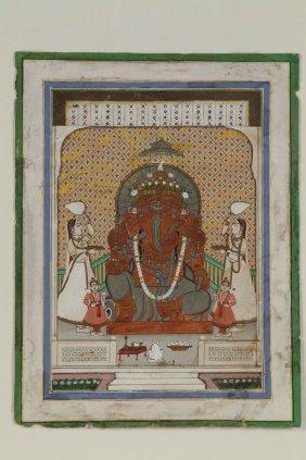 Arte Indiana A Painting Depicting Lord Ganeshaindia,