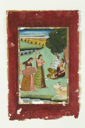 Arte Indiana A Miniature Portraying Krishna And Radha