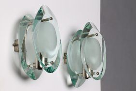 Max Ingrand Pair Of Wall Lamps, Model 2093 Solid Glass,