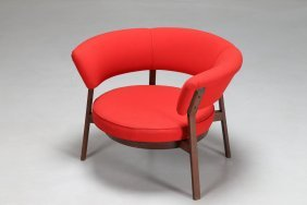 Eugenio Gerli Armchair With Rosewood Frame And Red