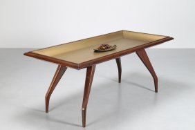 Melchiorre Bega Mahogany Table With Gold Painted Top