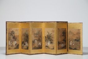 Arte Cinese A Folding Screen Composed Of Six Panels,