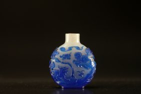 Arte Cinese Glass Snuff Bottle Decorated With Overlaid
