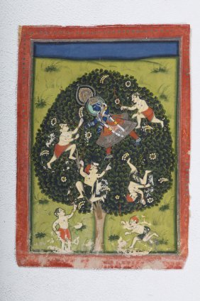 Arte Indiana A Miniature Painting Depicting Lord