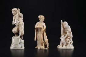 Arte Giapponese A Group Of Three Ivory Carved Okimono