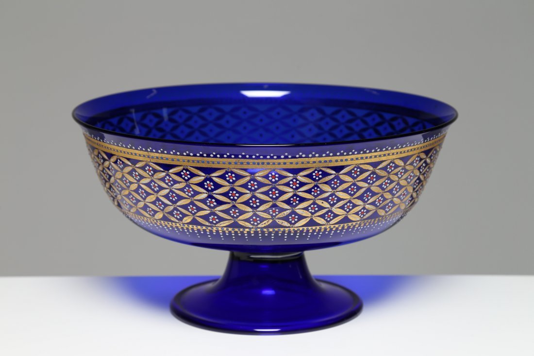 ERCOLE BAROVIER Coppa nuziale  in vetro blu cobalto