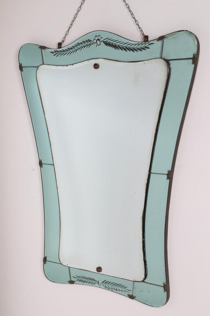 MANIFATTURA ITALIANA  Specchio in vetro inciso e