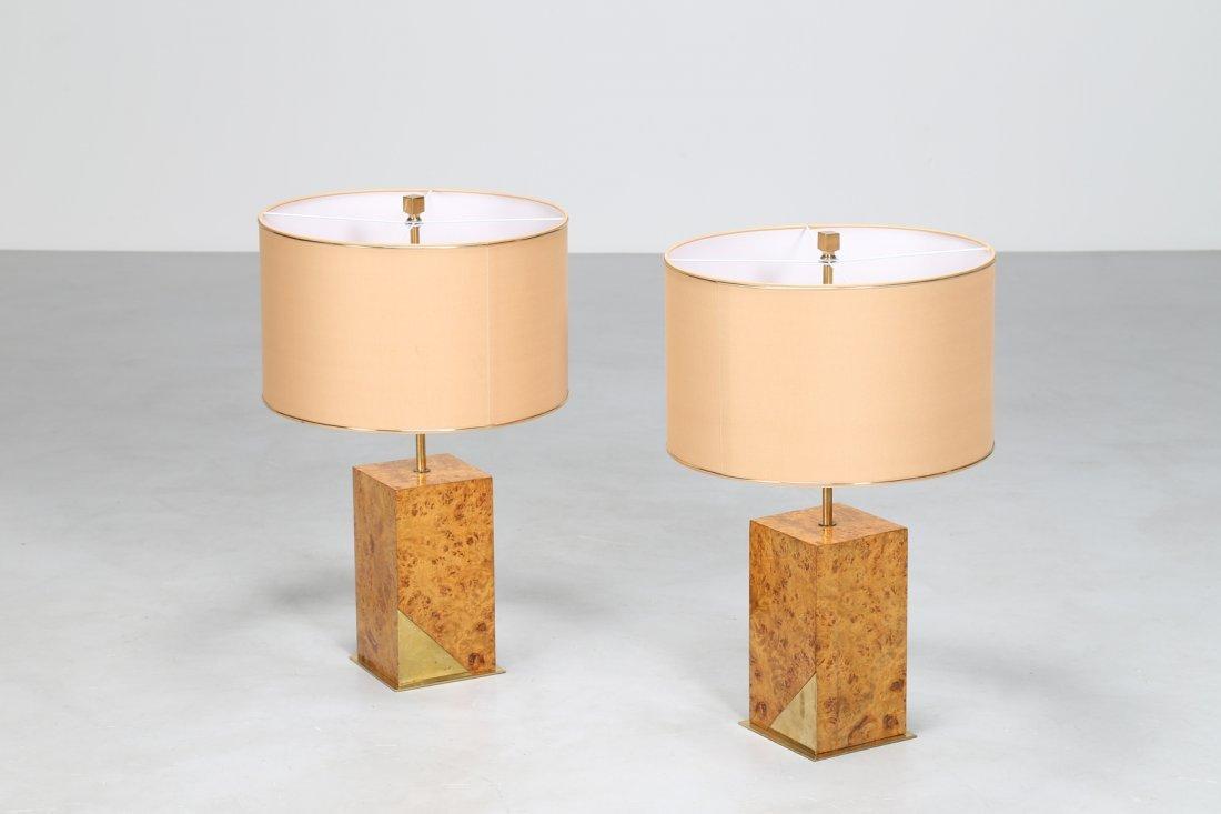 ROMEO REGA Coppia di lampade da tavolo, in radica di