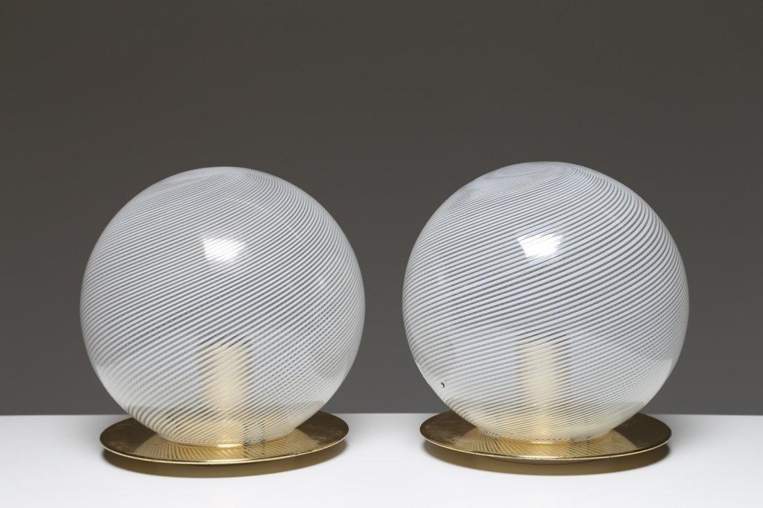 VENINI  Coppia lampade da tavolo in ottone e vetro