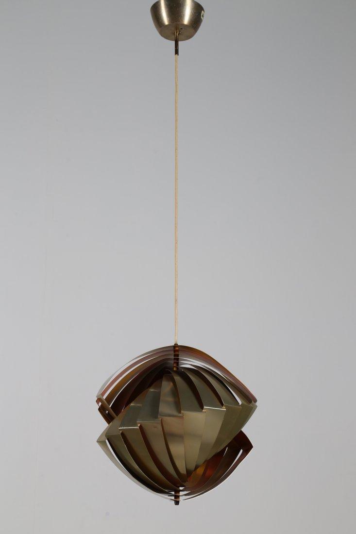 LOUIS  WEISDORF Rara lampada a sospensione in lamelle