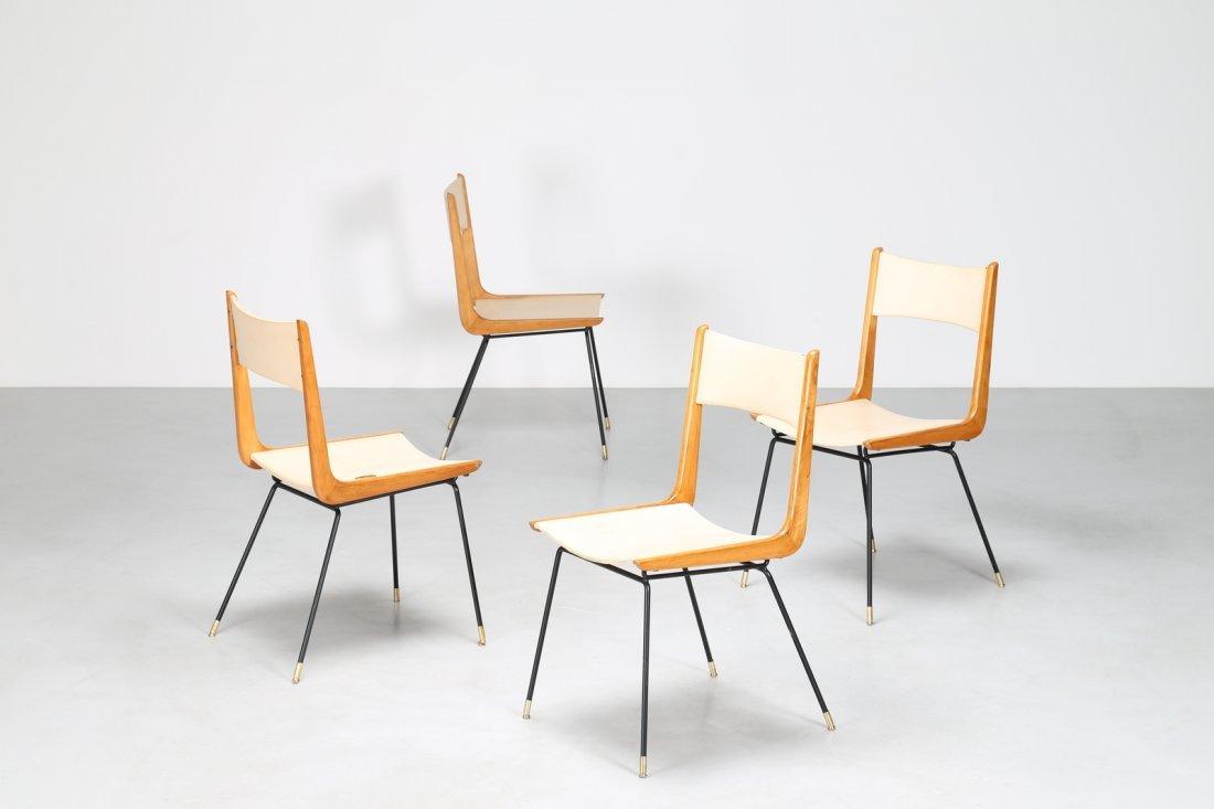 CARLO DE CARLI Attrib. Quattro sedie in metallo legno e