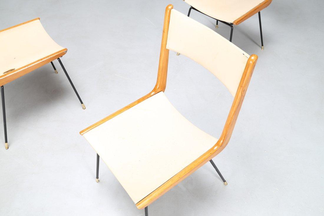 CARLO DE CARLI Attrib. Quattro sedie in metallo legno e - 2