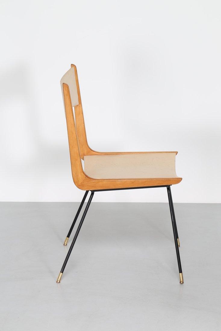 CARLO DE CARLI Attrib. Quattro sedie in metallo legno e - 3