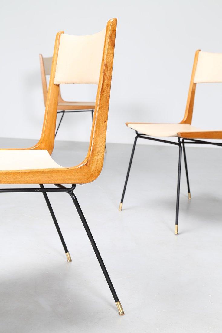 CARLO DE CARLI Attrib. Quattro sedie in metallo legno e - 5