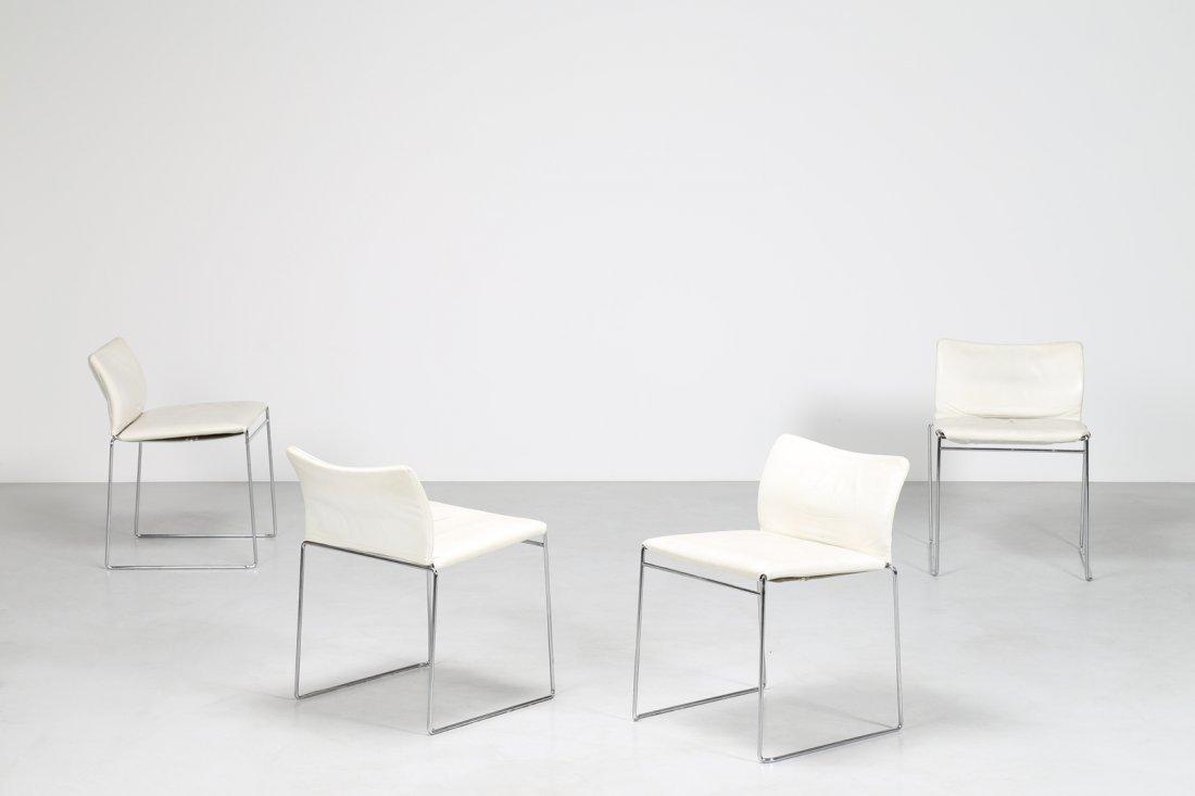 KAZUHIDE TAKAHAMA Quattro sedie in acciaio cromato e