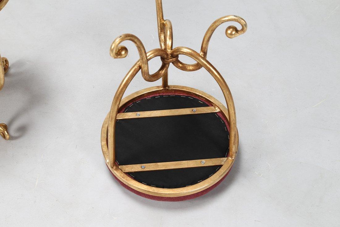 GIOVANNI BANCI Coppia sgabelli in metallo dorato e - 4