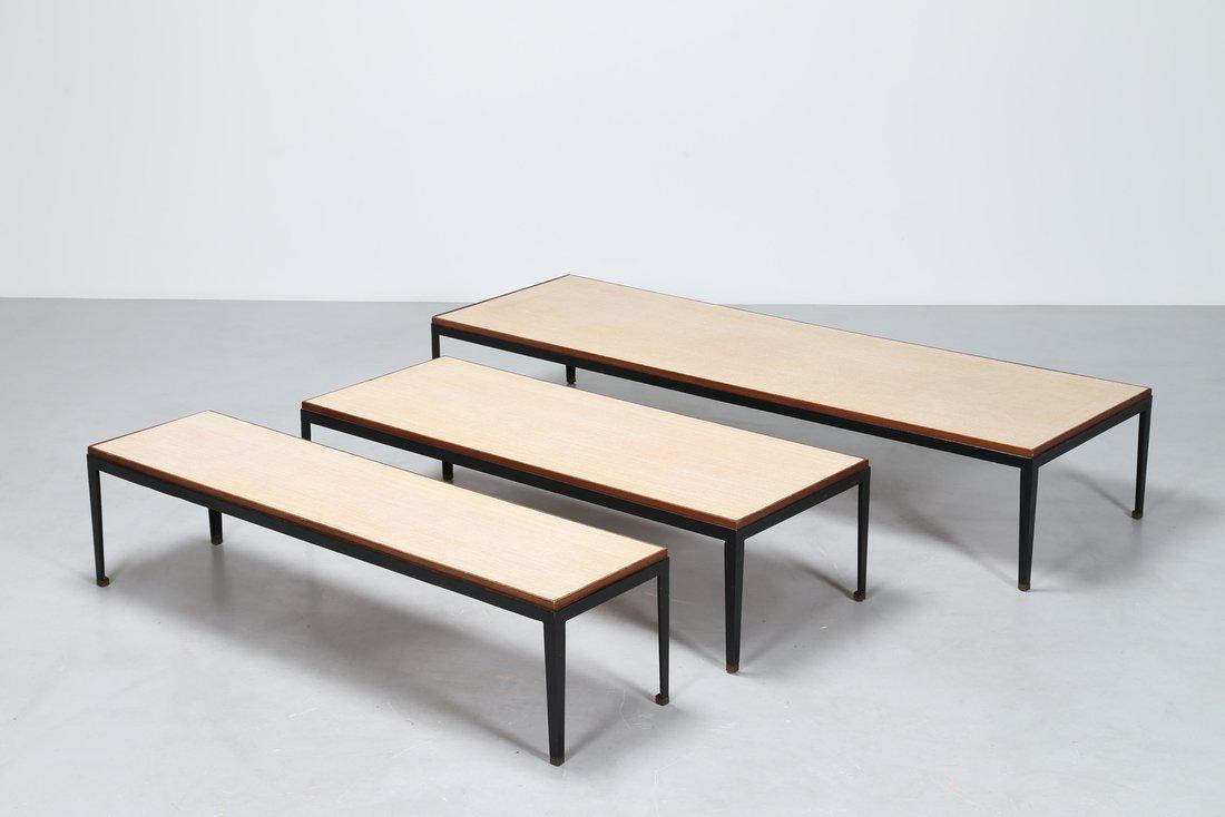 GASTONE RINALDI Tris di tavolini in metallo laccato e - 2