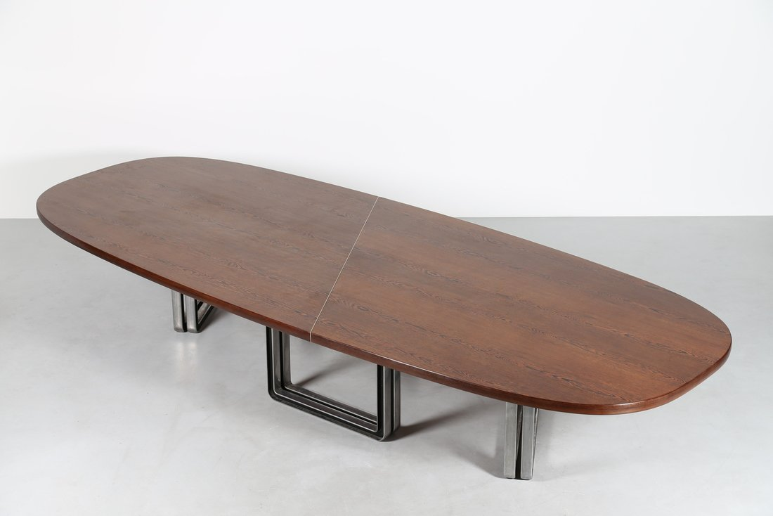 OSVALDO BORSANI Grande tavolo da riunione, formato da - 9