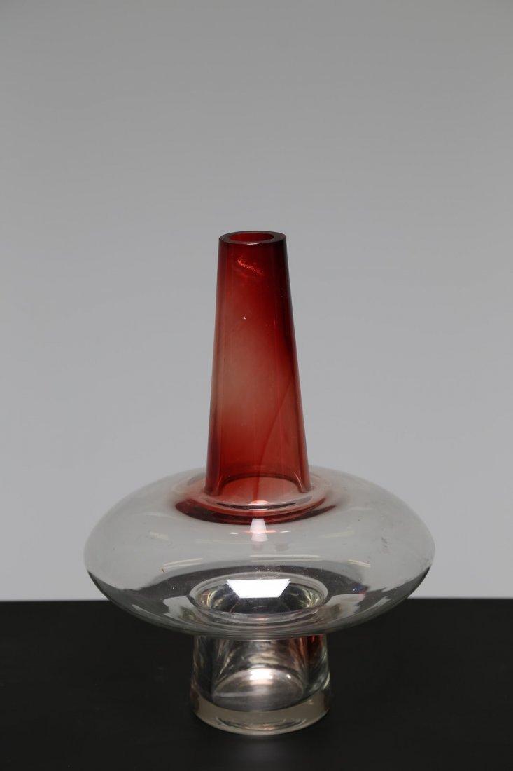 ETTORE SOTTSASS Vaso in cristallo e rosso pompeiano,