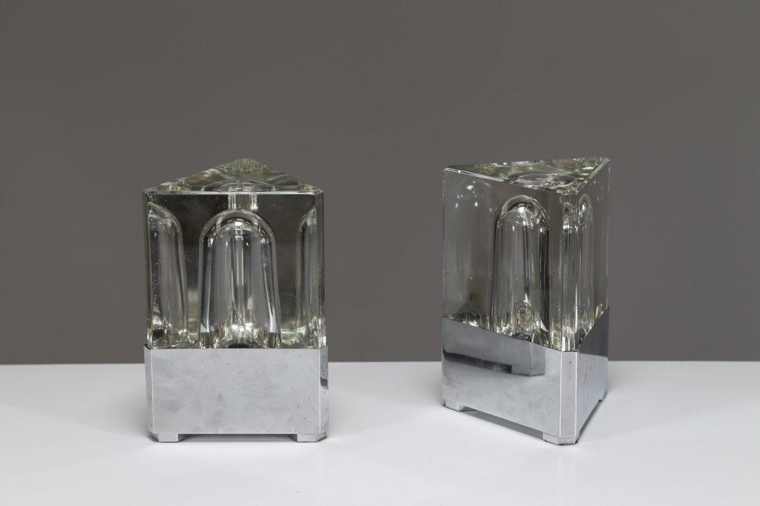 FIDENZA VETRARIA Coppia di lampade da tavolo in vetro