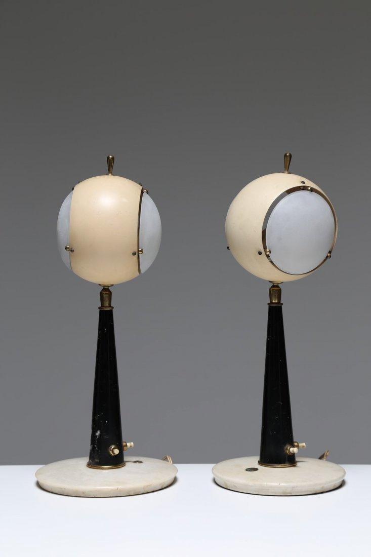 ANGELO LELLI Coppia lampade da tavolo in metallo