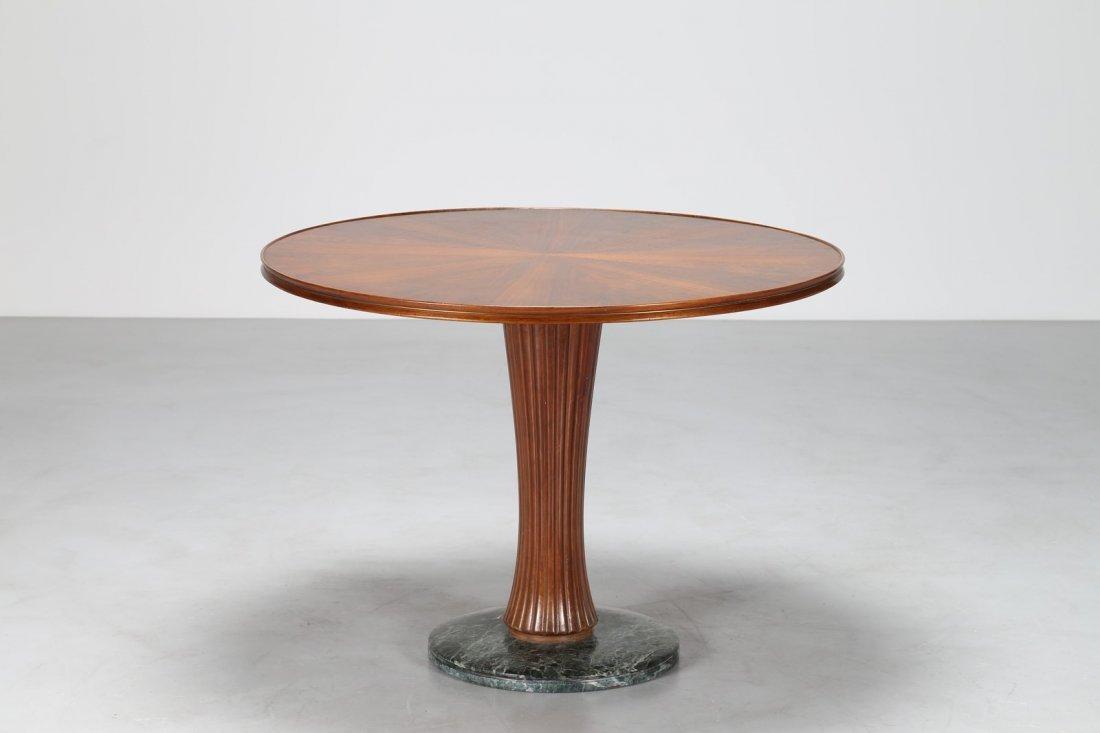 PAOLO BUFFA Tavolo rotondo in noce con base in  marmo