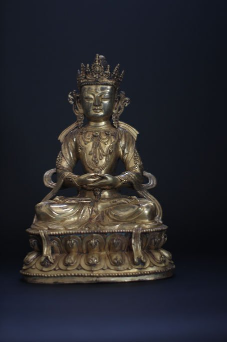 bronze sculpture of seated Guanyin Early Ming dynasty