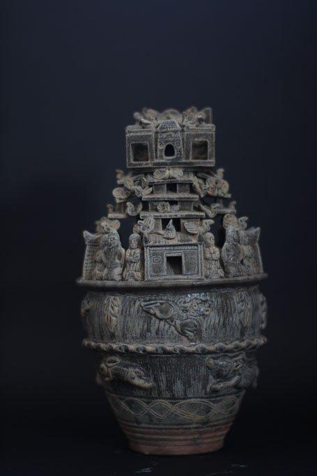 Ancient Celadon Glazed Ceramic Funerary Urn/Spirit Jar