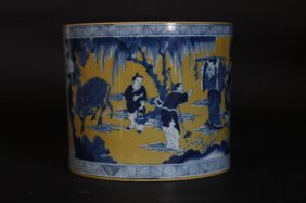 Chinese Antique Bowl With Art Work Feature The Emperor