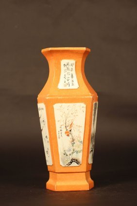 Orange Color Vase With Arts Of Different Environment