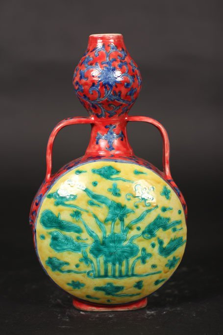 ming dynasty antique vase with lake and birds art work