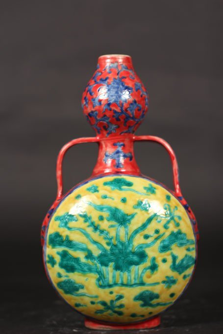 ming dynasty antique vase with lake and birds art work - 3