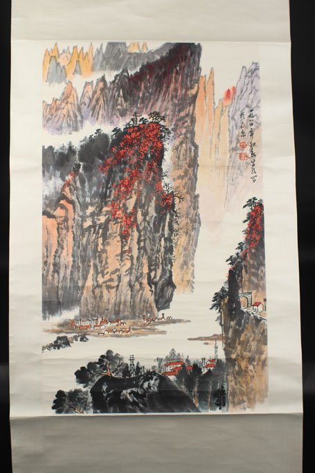 chinese painting of houses under the mountain