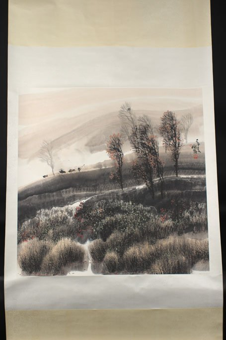 chinese ink painting of mountain view