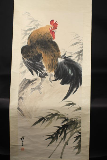 chinese ink painting of chicken