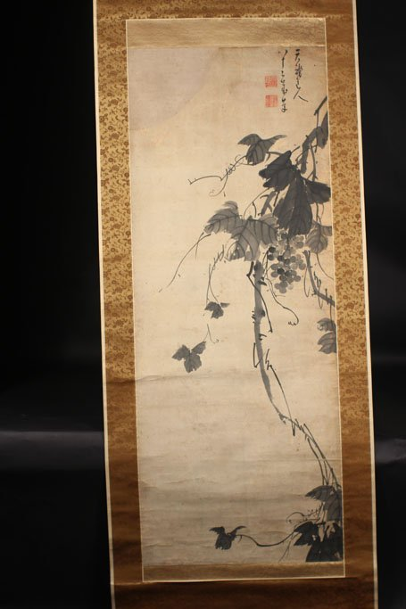 chinese painting of grape tree