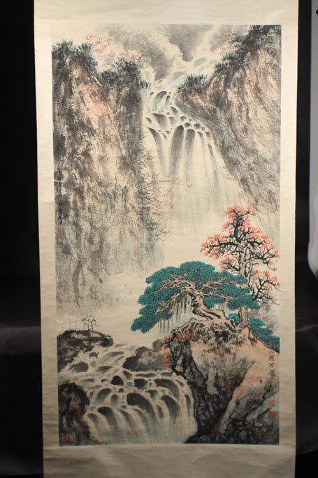 chinese painting of tree and mountain