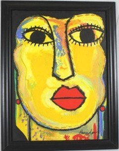 4: Original Oil / Art By J. C. Breceda- Yellow Face