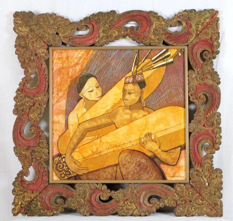22: Original Dyak Musicians on Silk. No. 70/116