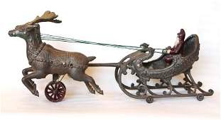 329: Hubley Cast Iron Sleigh with Santa & Reindeer
