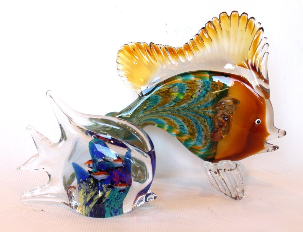 Lot of Two Murano Glass Fish
