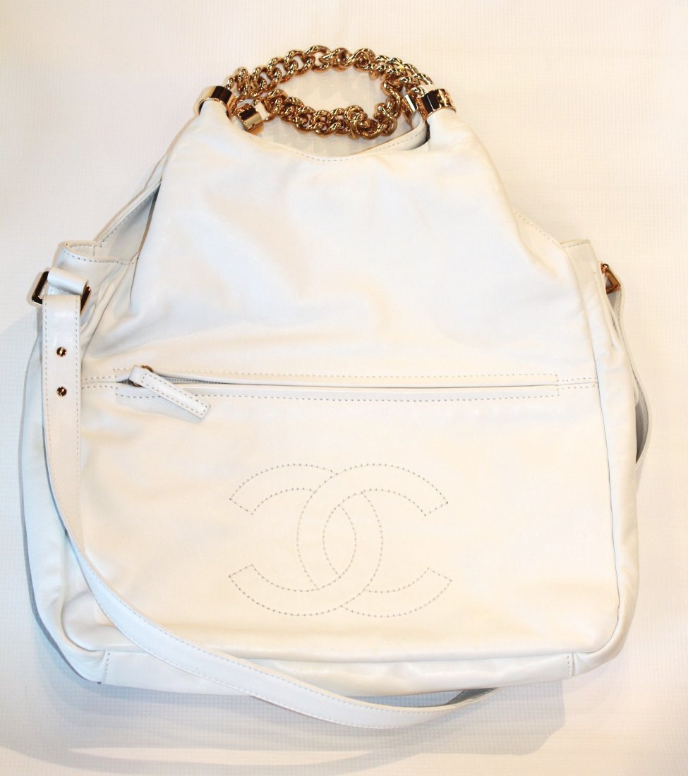 Authentic Chanel Hobo Purse With Metal Straps